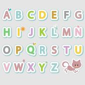Alphabet set cute stickers — Stock Vector