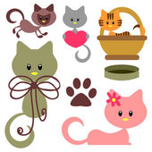 かわいい赤ちゃん子猫セット — ストックベクタ