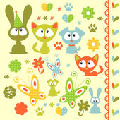 A set of baby animal elements — Stock Vector