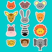 A set of cute animal faces — Stock Vector