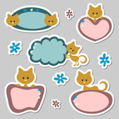 Cute baby kitten stickers set — Stock Vector