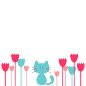 Pretty greeting card with flowers and kitten — Stock Vector