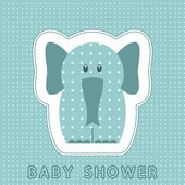 Carte de douche de bébé avec éléphant — Vecteur