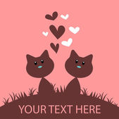 Cute romantic card with two cats — Stock Vector
