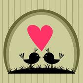 Vogels in liefde briefkaart — Stockvector