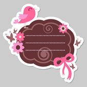 Cute pink bird frame design — Stock Vector