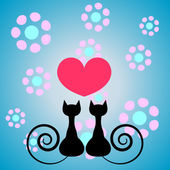 Romance de kitty — Vector de stock