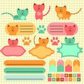 Cute baby kitten scrapbook elements — Stock Vector