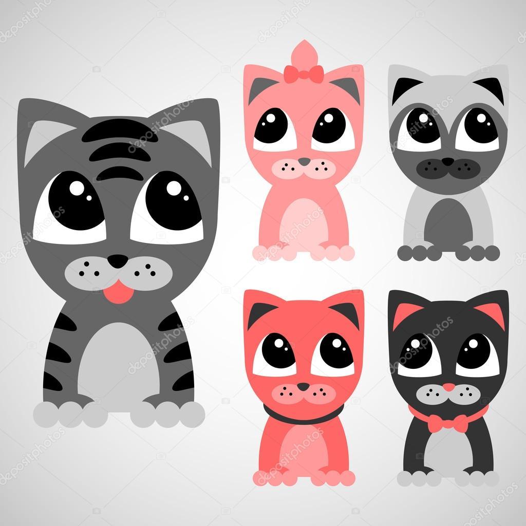 小可爱小猫集– 图库插图