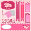Stock Vector: Girl scrapbook set