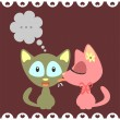 Two kittens romantic card - Imagen vectorial