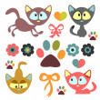 A set of cute little kittens — Stock Vector