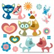 A set of cute kitty romantic couples — Vector de stock