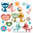Stock Vector: A set of cute kitty romantic couples