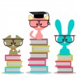 Royalty-Free Stock Vector Image: Baby animals sitting on books