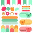 A set of cute elements for scrapbook — Stock Vector