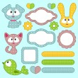 A set of babyish scrapbook elements with animals — Stock Vector