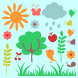 Set of childish nature elements — Stock Vector #12060601