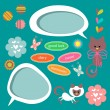 A set of cute scrapbook elements — Stock Vector