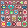 A set of cute colorful stickers - Stock Vector