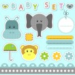 Stock Vector: A set of babyish scrapbook elements