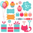 A set of cute birthday elements — Stock Vector