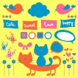 Set of cute childish elements — Stock Vector #12060669