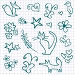 A set of cute doodles — Stock Vector