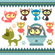A set of cute baby kittens — Stock Vector