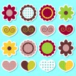 Royalty-Free Stock Imagem Vetorial: A set of cute flowers and hearts