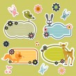 Cute cartoon wild animals stickers — Stock Vector