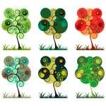 Bright trees set — Stock Vector