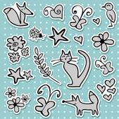 A set of doodle stickers — Stock Vector