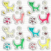 A set of childish doodle stickers — Stock Vector