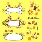 A set of floral elements — Stock Vector