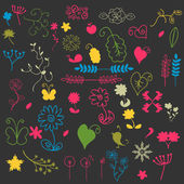 Çiçek öğeleri kümesi — Stok Vektör