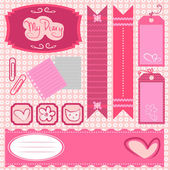 Girl scrapbook set — Stock Vector