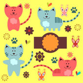 A set of cute kitty elements — Stock Vector