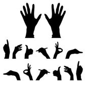 Vector set of hand silhouettes — Stock Vector