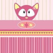 Baby girl kitten card — Stock Vector