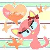 Pretty kitty girl card — Stock Vector