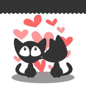 Kittens in love postcard — Stock Vector