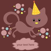 Happy kitten greeting card — Stock Vector