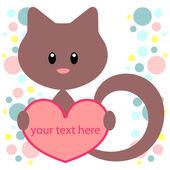 Kitten with heart card — Stock Vector