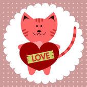 Kitty romantic card — Stock Vector