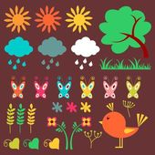 A set of cute nature elements — Vettoriale Stock