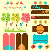Cute nature elements for scrapbook — Stock Vector