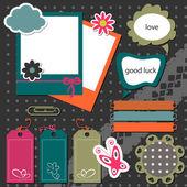 A set of decorative elements for scrapbook — Stock Vector