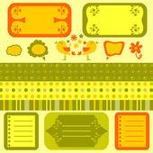 Scrapbook cute elements seamless patterns — Stock Vector