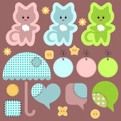 A cute set of babyish elements — Stock Vector